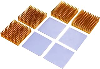 BNTECHGO 4 Pcs 40mm x 40mm x 11mm Golden Aluminum Heat Sink Cooling Fin 4 Pcs 40mm x 40mm x 0.5mm Silicone Based Thermal Pad