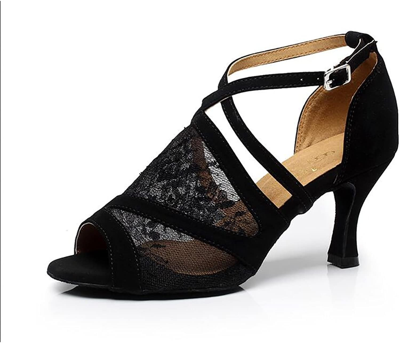 Women's Latin shoes Ballroom shoes Lace Sandal Buckle Stiletto Heel Dance shoes Black Party & Evening