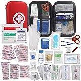 Botiquín Primeros Auxilios, WINGLESCOUT Kit Primeros Auxilios Viaje Bolsa Médica para Emergencias con 175 Artículos Hard Case Mini Box Impermeable para Hogar, Deportes, Coche y Camping