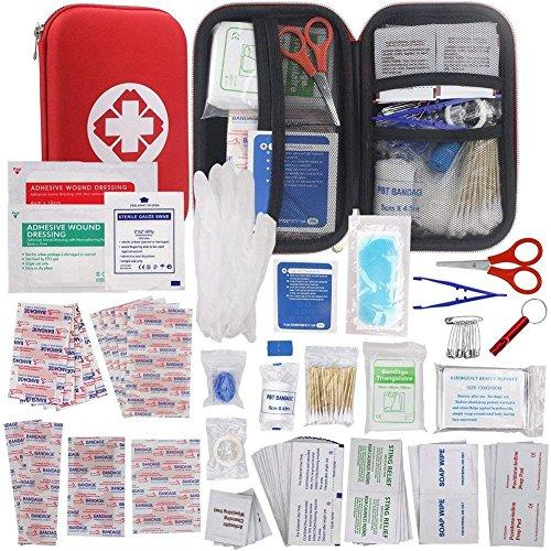 WINGLESCOUT Botiquín Primeros Auxilios, Kit Primeros Auxilios Viaje Bolsa Médica para Emergencias con 175 Artículos Hard Case Mini Box Impermeable para Hogar, Deportes, Coche y Camping