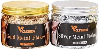VGSEBA Gold Leaf Flakes, 5/Bottle Grams Metallic Gold Foil Flakes for Gilding, Painting Arts, Crafts Nails and DIYS (Gold+...