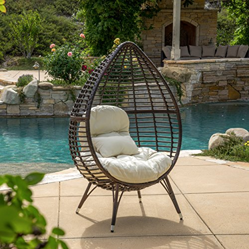 Christopher Knight Home Cutter Teardrop Wicker Lounge Chair with Cushion, Multibrown