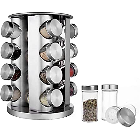 BaoWnylz Présentoir à Épices -16 Pots Verre - Étagère à Épices en Acier Inoxydable Carrousel Epices - Pour Rangement Epices Cuisine, Barbecue, Économiser de l'espace Range Epice