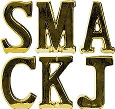 Urban Trends Ceramic Alphabet Table Top Decor Letter SMACKJ Assortment of Six SM Gloss Finish Gold, Small