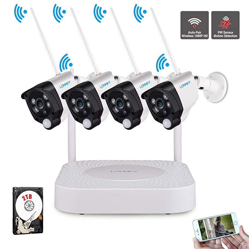 LONNKY 8CH Full HD 1080P Wireless NVR Surveillance Security Camera System, 4Pcs 1080P WiFi Security Bullet Camera with PIR Sensor and Night Vision, Audio Recording, Built-in 2TB HDD