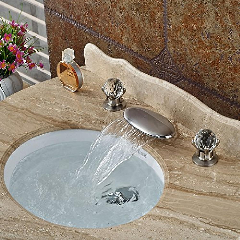 Maifeini Das Neue Design Der Universal Auslauf Wasserfall Waschbecken 3 Badezimmer Wasserhahn Loch Nickel Gebürstet Dual Tap Tap Griffe