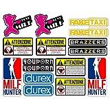 Adesivi Moto Divertenti Stickers decal fun tube porn youporn faketaxi fun - 16 Pezzi Kit - Motocross Bici Mtb Computer Motorino VINILE LUCIDO Marche Famose Pack