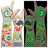 Luminous Under the Sea Birthday Party Decorations, 145 Styles Glow Temporary Tattoos for Kids, Under the Sea Ocean Beach Pool Party Supplies Favors, Sea Animals Tattoo Stickers - 12 Sheets