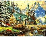 Pintura al óleo DIY Montañas y casas Pintura por números Para lienzo niños adultos decoración set de regalo pintura acrílica 40x50cm (sin marco)