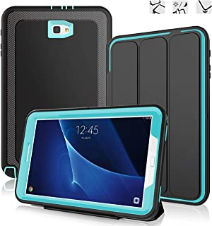 DUNNO Samsung Galaxy Tab A 10.1 Case - Heavy Duty Full Body Rugged Protective Case for Galaxy Tablet SM-T580 T585 T587(NO S Pen Version) with Auto Sleep/Wake Up & Stand Folio Design (Black/Light Blue)