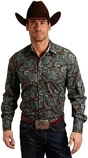 Men's Rail Paisley Print Long Sleeve Western Shirt - 11-001-0425-0643