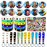 ZUUO Robot Blocks Party Supplies, 86 Pack Birthday Party Favors Set Include 50 Stickers for Video Game Fans Kids, 12 Key Chain, 12 Bracelets, 12 Button Pins