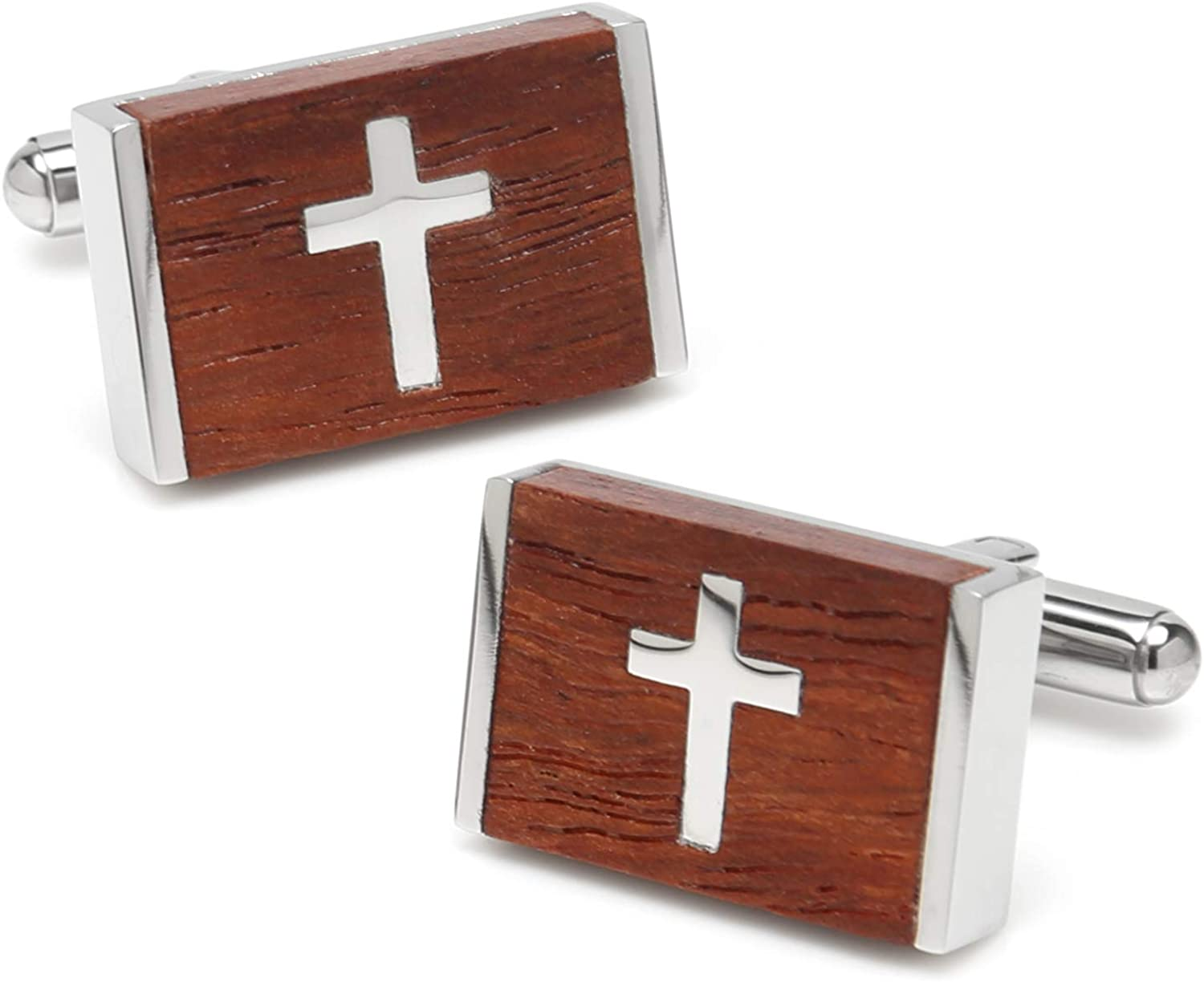 Ox and Bull Trading Co Cross Wood Stainless Steel Cufflinks