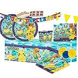 ipt Kit Compleanno per 16 Persone n 54 Pokemon Coordinato Compleanno Festa Party Cartone Animato Pikachu Piatti Bicchieri tovaglioli tovaglia Videogioco Giappone