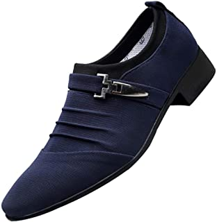 Limsea Men Casual Leisure Basic Shoes Pointed Toe Formal Canvas Business Shoes