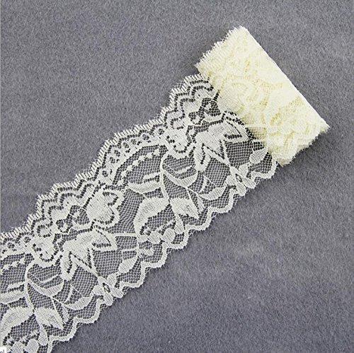 Yulakes 10 Yards Vintage Spitzenbordüre 5.5cm Breite, Spitzenbordüre Spitzenborte Spitzenband ,Dekorband, Handwerk, Schleifband (Creme)
