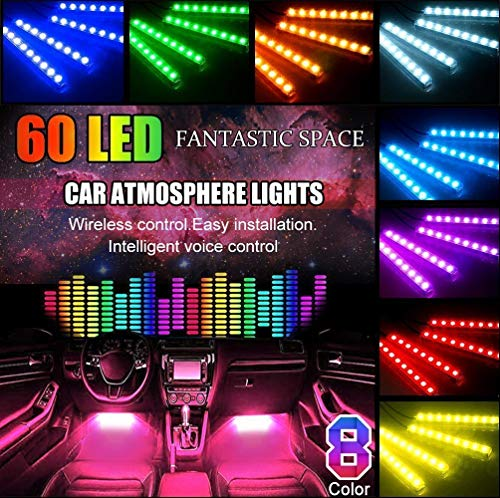 POMILE Auto LED Innenbeleuchtung, 4x15 60 LED Wasserdicht Beleuchtung RGB Innenraumbeleuchtung Musik Atmosphäre Beleuchtung mit kabelloser Fernbedienung und USB Port, 5V - 12V