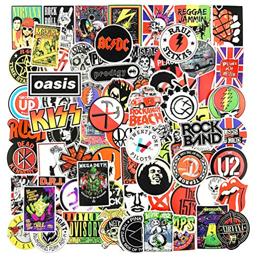 Rock Roll Band Stickers and Decals 100pcs Punk Music Classic Laptop Suitcase Luggage Cars Guitar Skateboard Graffiti Decals