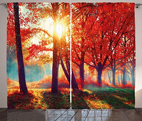 "Ambesonne Tree Curtains, Autumnal Foggy Park Fall Nature Scenic Scenery Maple Trees Sunbeams Woods, Living Room Bedroom Window Drapes 2 Panel Set, 108"" X 96"", Orange Yellow"