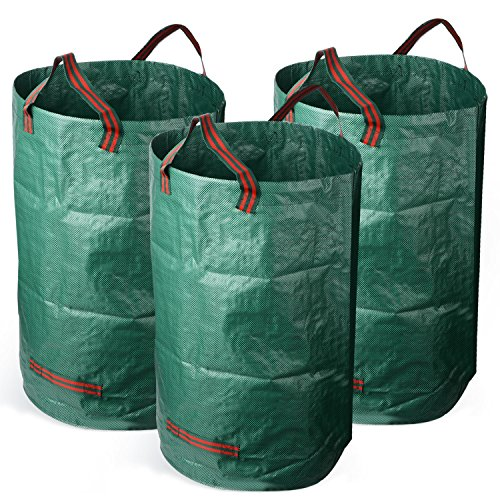 lulalula 3-pack 72 gallons Sac de jardin réutilisable, jardinage Sacs – Heavy Duty pliable pelouse piscine Yard Sacs de réception 3 Pack 32 Gallons