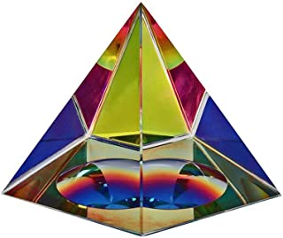 Amlong Crystal Iridescent Pyramid - Rainbow Colors 4.5 Inches Tall with Gift Box