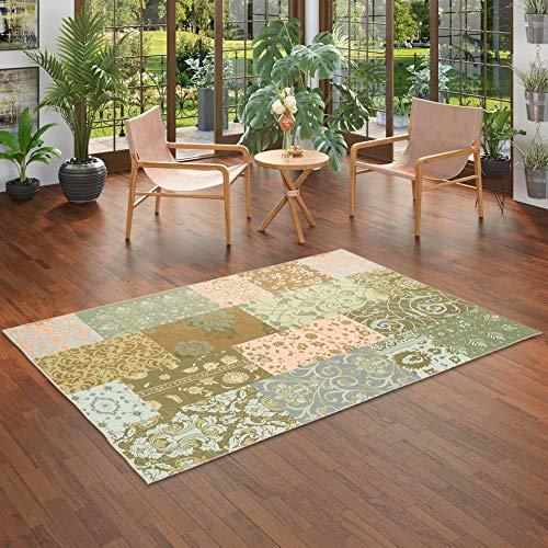 Pergamon Luxus Vintage Designerteppich Patchwork Grün in 8 Größen