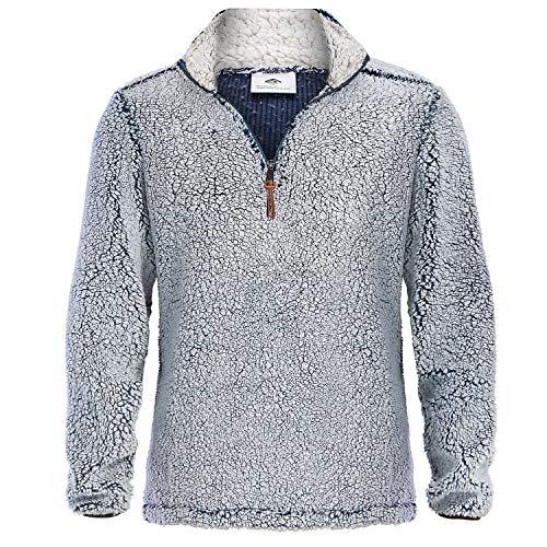 MAGNIVIT Men's Fuzzy Fleece Sweater Winter Sherpa Pullover Outwear Coat with Pockets Navy Blue