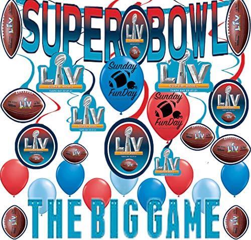 Super Bowl Party Supplies LV 55 Big Game Banner Hanging Swirls Balloons Football Year 2021 Tampa Bay Room Decoration Bundle