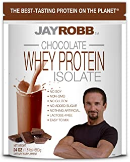 Jay Robb Whey Chocolate Isolate Protein Powder, Low Carb, Keto, Vegetarian, Gluten Free, Lactose Free, No Sugar Added, No Fat, No Soy, Nothing Artificial, Non-GMO, Best-Tasting, 24 oz