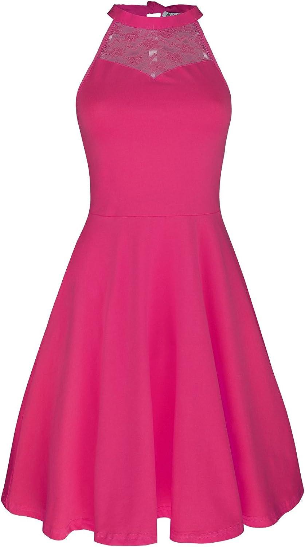 KILIG Women's Lace Patchwork Off Shoulder Pleated Party Casual Dresses
