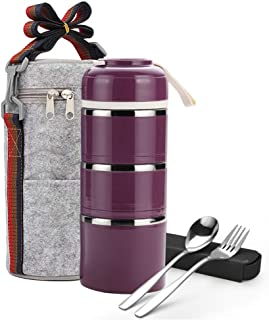 Stackable Lunch Box,ArderLive Portable Stainless Steel Insulated Lunch Box with Lunch Bag & Portable utensil, BPA Free Leakproof Food Storage Container. (3-purple)