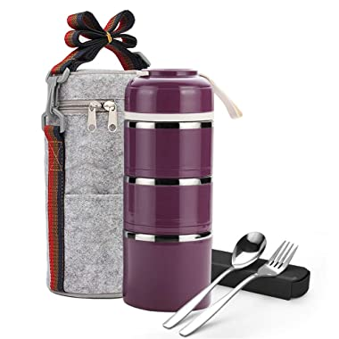Stackable Lunch Box,ArderLive Portable Stainless Steel Insulated Compartment Lunch Box with Lunch Bag & Portable utensil, BPA Free Leakproof Food Storage Container. (3-purple)