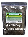 Equine Chia Brand - Certified Organic Chia Seeds in 3 Pound Bags (4 x 3 Pound Bags)