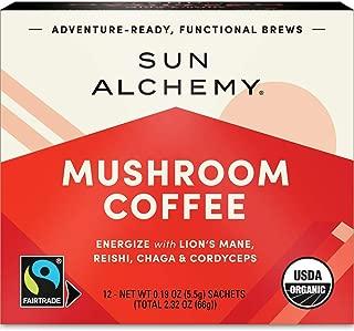 Sun Alchemy Mushroom Coffee, Energize with Organic Fair-Trade Coffee, Lion's Mane, Reishi, Chaga & Cordyceps Mushrooms - 12 Sachets