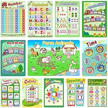 12-Pack Dream Level Preschool Learning Posters for Pre K-K