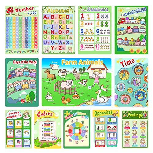 Educational Posters, ABC Poster, 12 Pack Times Table Preschool Learning Posters for Pre K-K, 1-100 Educational Charts for Preschoolers Kindergarten Home Classroom Decor with Glue Dots -16 x 11 Inch
