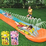 HOOLRO Water Slip and Slide for Kids and Adults with Surfboards, 16 Foot Outdoor Water Toys Backyard Garden Racing Lanes and Splash Pool (16 ft × 4.6 ft)