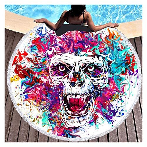 BMZGGIV Hermosamente Colorido Cráneo Pluma Redondo Playa Toalla Black Yoga Mat Flower Tapicería Diámetro gótico 150cm Alfombra al Aire Libre, Manta de Picnic, (Color : A, Size : 150cm)