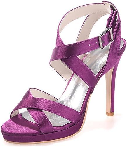Elobaby Chaussures De Femmes pour Le Mariage Peep Toe Summer Basic Buckle pour Chaton Talon Robe LC-5915