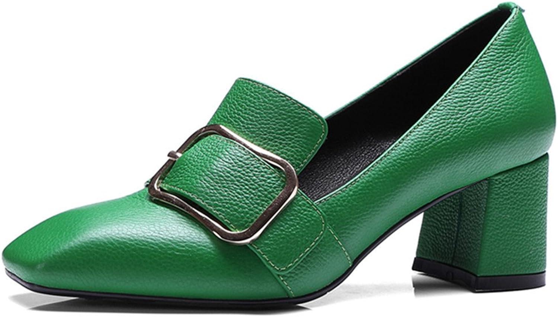 Nine Seven Genuine Leather Women's Square Toe Chunky Heel Handmade Comfort Pumps shoes