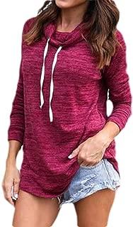 Macondoo Women's Casual Long-Sleeve Cowlneck Pullover Top Sweatshirts