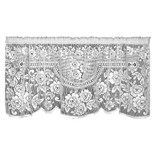 Heritage Lace Victorian Rose 60-Inch Wide by 30-Inch Drop Tier, Ecru