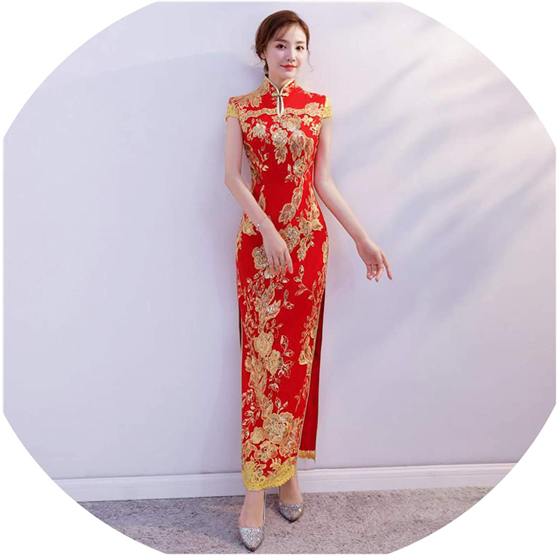 colorfulspace Classic Sequins High Split Cheongsam Flower Lace Qipao Elegant Women Mandarin Collar Vintage Vestidos