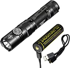 Nitecore EC22 Infinitely Variable Brightness 1000 Lumen Rotary Switch LED Flashlight with High Capacity 3400mAh USB Rechargeable Battery & LumenTac Charging Cable