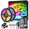 32.8ft LED Strip Lights APP Control Color Changing Rope Lights with Remote, Music Sync Built-in Mic, SMD 5050 RGB Light Strips RGB LED Strip (32.8Ft APP+Remote+Mic+3-Button Switch)