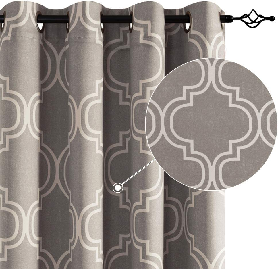 Vangao Gray Curtains Ranking TOP11 for Living Directly managed store Room Moroccan Pr Quatrefoil Tile
