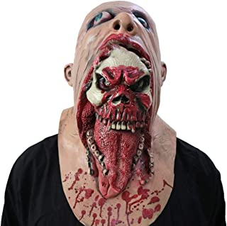 Scary Bloody Zombie Mask Melting Face Adult Latex Costume Walking Dead For Halloween - Red