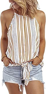 EMLAI Women Casual Stripe Halter Neck Vest Tops Round Neck Sleeveless Summer Tank Tops