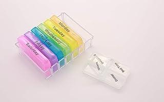 Color Pill Box 7 Day - Large Push Button Pill Box Organizer,Weekly Pill Box,Locking Pill Box Holder Storage Organizer Cont...