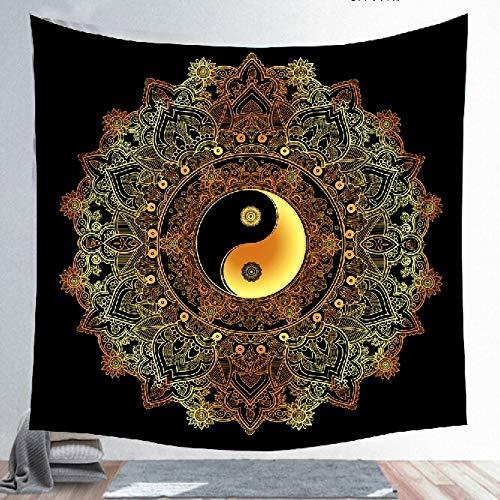 KHKJ Yin Yang Mandala Tapiz Decoración para el hogar Colgante de Pared Negro Gossip Tapiz de Tela Estampado en Caliente Tapices de Tela Manta A6 130x150cm